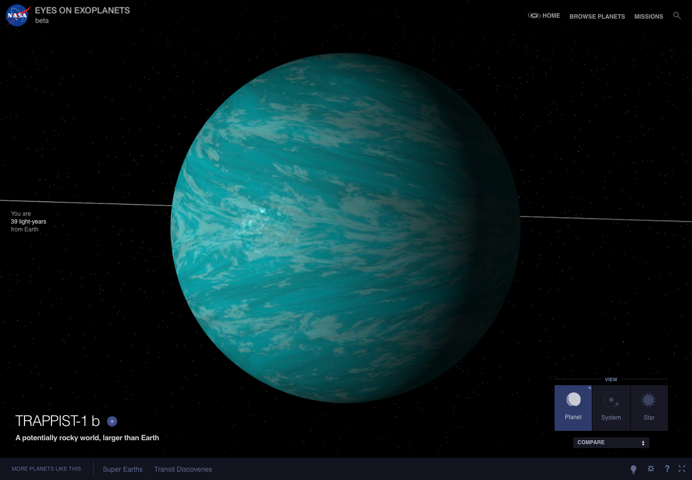 The exoplanet TRAPPIST-1 b is shown as blue in an artist's visualization.