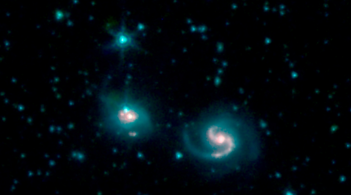 Smaller bright galaxies are seen by the Spitzer space telescope.