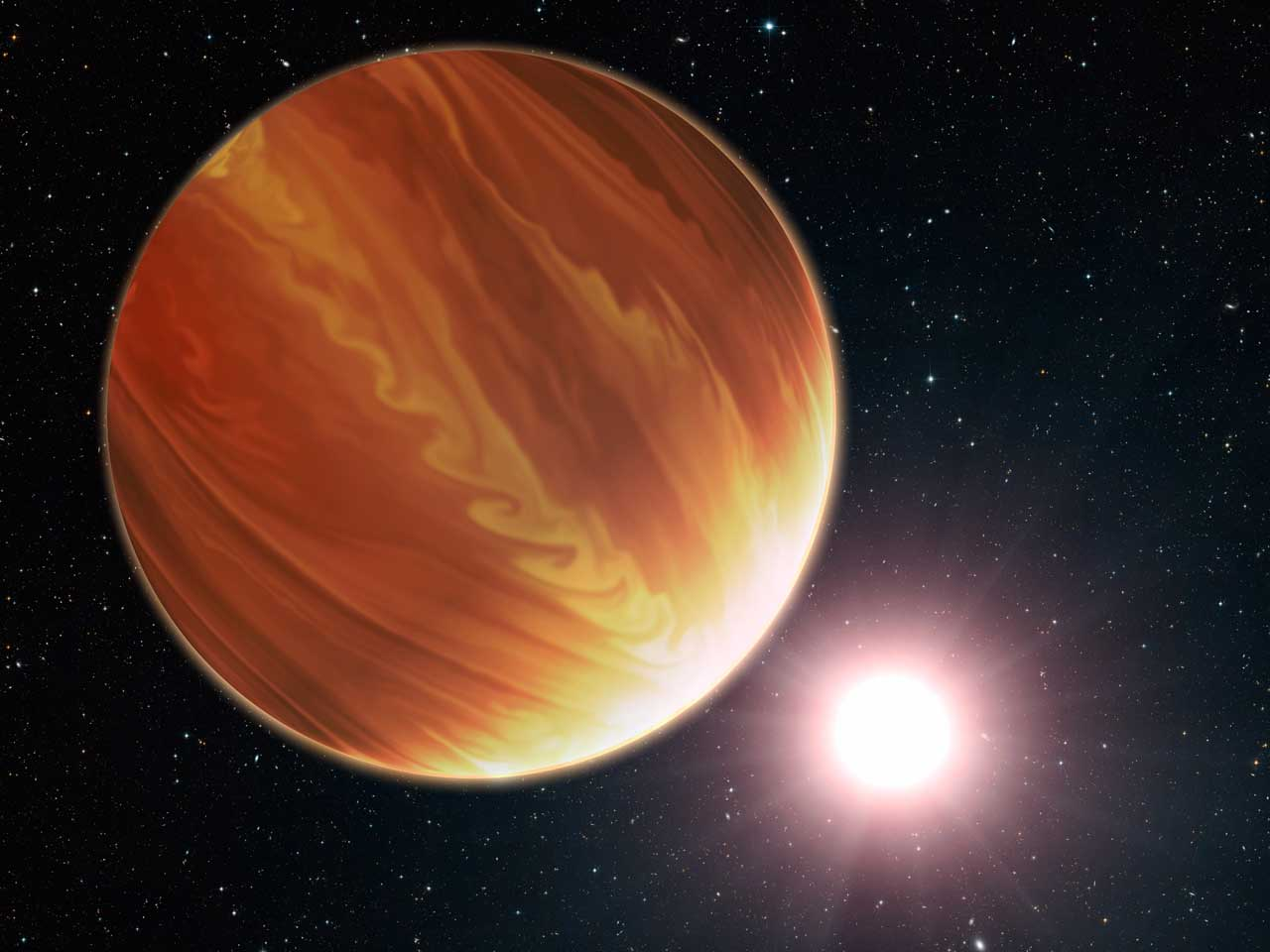 An exoplanet seen orbiting a star in an illustration