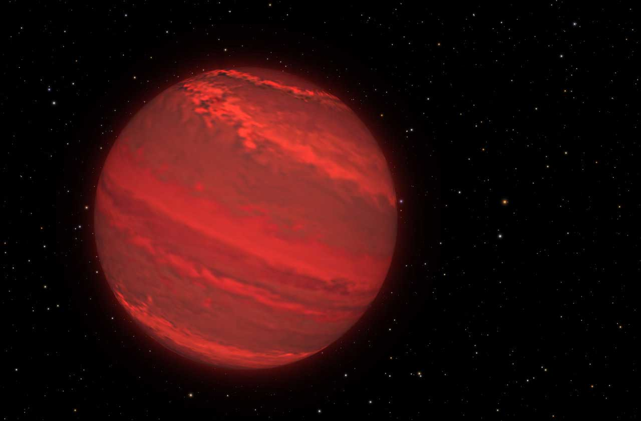 A cloudy red exoplanet is seen in the dark of space.