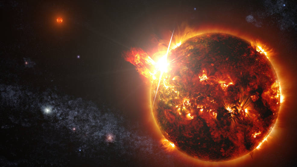 In an illustration, you can see the wide flares of a red dwarf star.