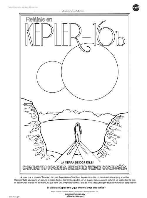 vintage style space travel print retro wall decor NASA Exoplanets Exploration Program poster print The Land of Two Suns Kepler-16b