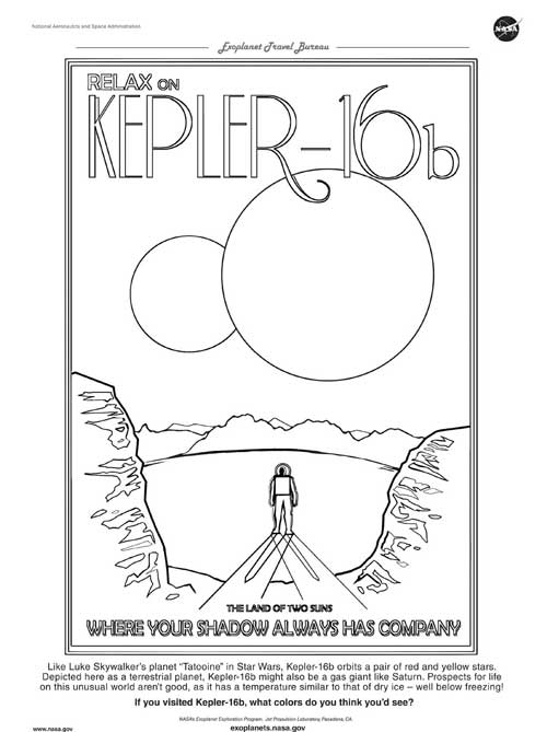 exoplanet travel coloring page for Kepler 16b