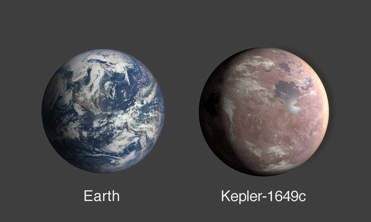 Kepler-1649c is seen as slightly larger than Earth in a side by side comparison