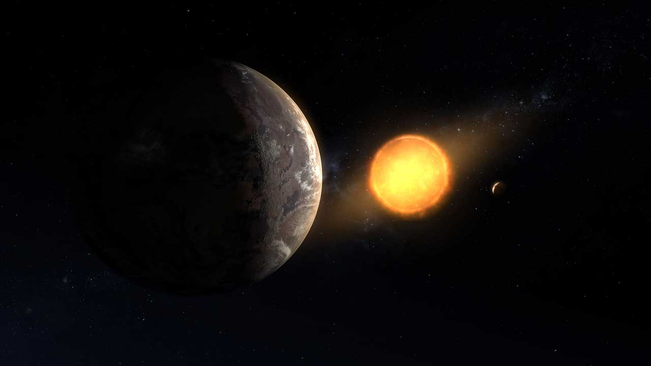 An exoplanet is seen in space orbiting a red dwarf star