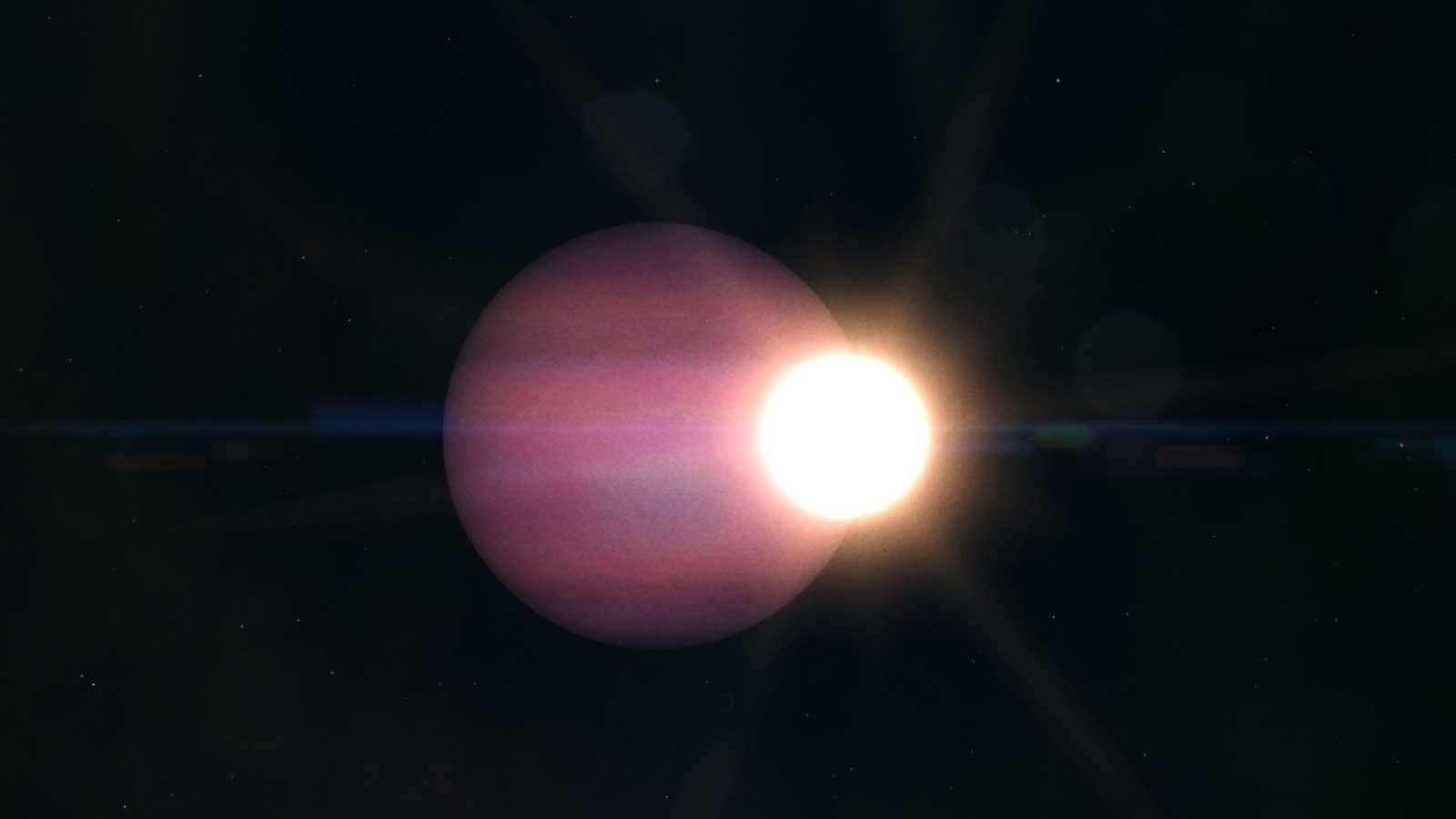 A large pink exoplanet is seen right next to a much smaller star with white light in an illustration.