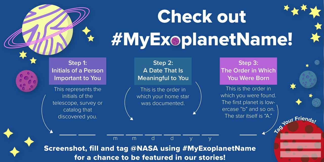 What Is Your Exoplanet Name? graphic showing stars and planets as cartoons