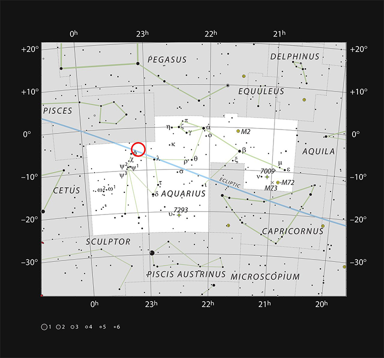 This chart shows the naked eye stars visible on a clear dark night in the sprawling constellation of Aquarius (The Water Carrier). The position of the faint and very red ultracool dwarf star TRAPPIST-1 is marked. Although it is relatively close to the Sun it is very faint and not visible in small telescopes. Credit: ESO/IAU and Sky & Telescope