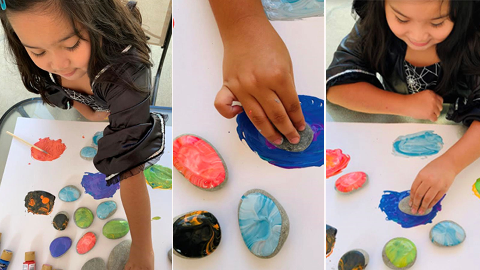 Three images showing a little girl painting rocks.