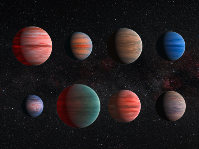 artist concept of different sizes and colors of planets
