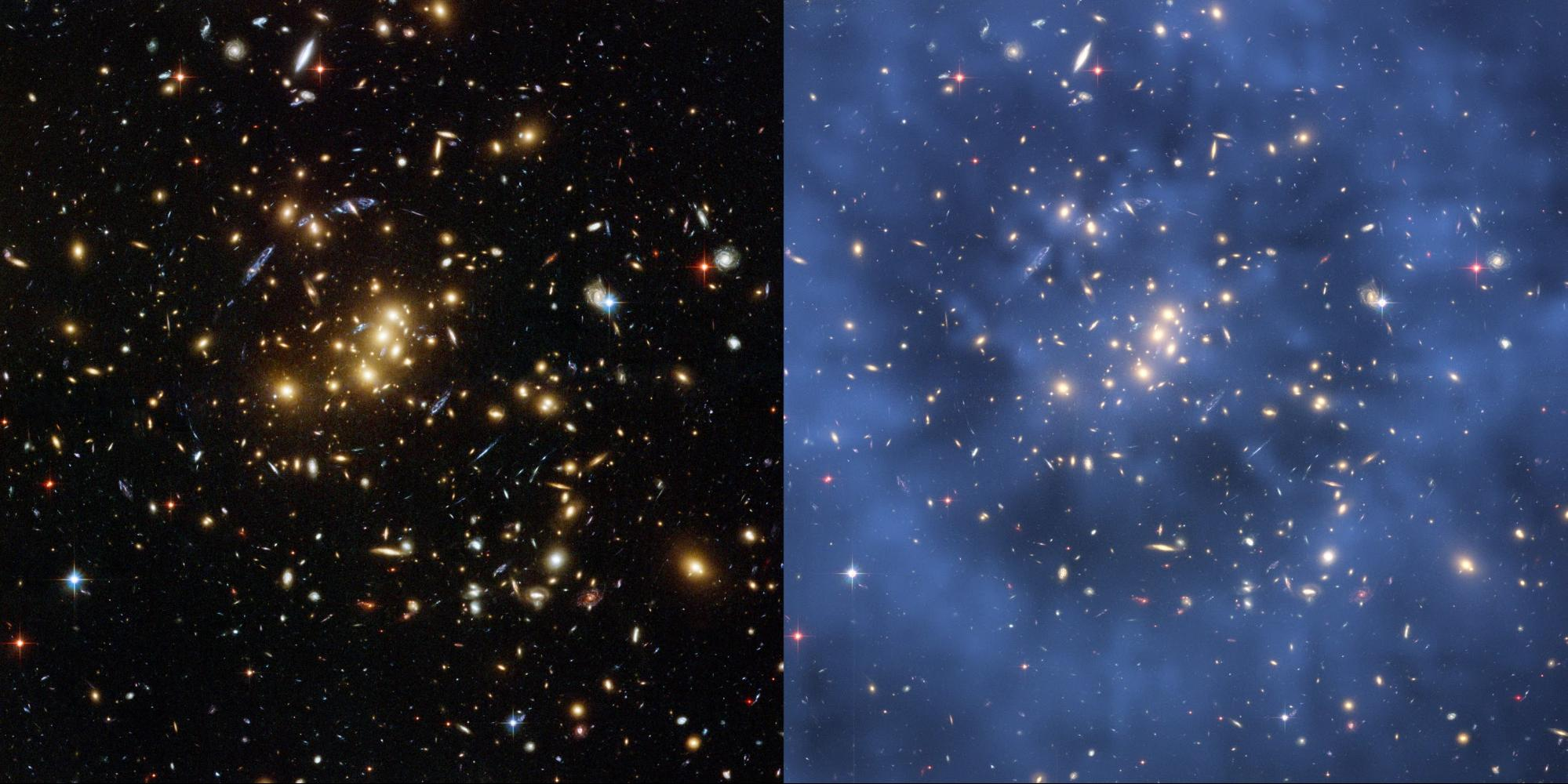 side-by-side images of galaxy cluster