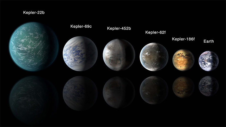 This artist's conception of a planetary lineup shows habitable zone planets with similarities to Earth.