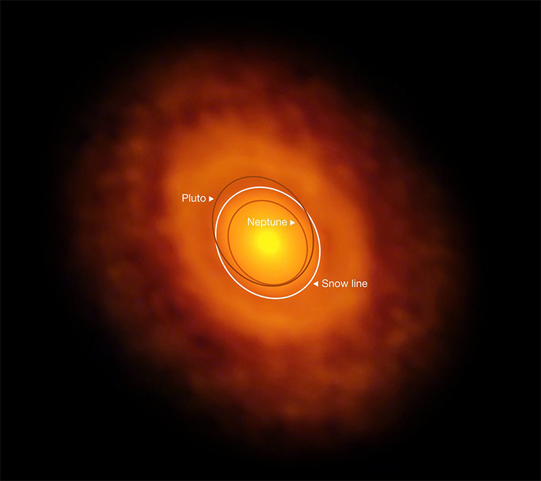 A direct image by ALMA of the young star V883 Orionis and its protoplanetary disk.