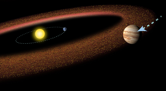 An artist's impression shows Jupiter migrating in toward the sun and Earth.
