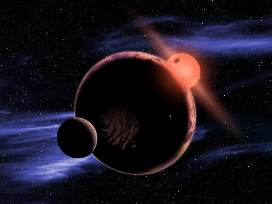 Red dwarf star with possible planet and moon.