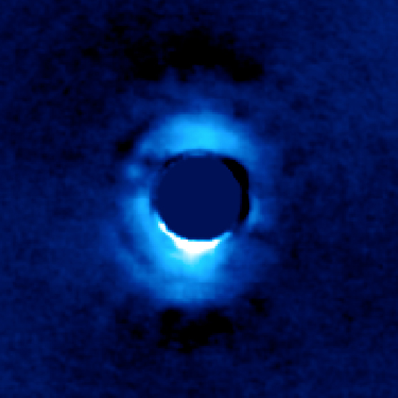 Vortex coronagraph images planetary material
