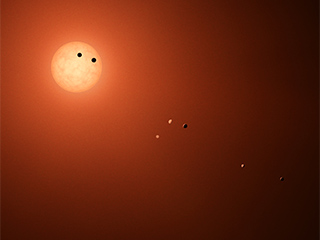 An illustrated view of one of the TRAPPIST planets' surface.