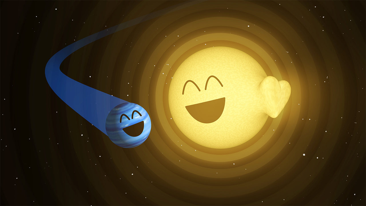An illustration by Hurt and Pyle shows how the planet HAT-P-2b, left, appears to cause heartbeat-like pulsations in its host star, HAT-P-2.