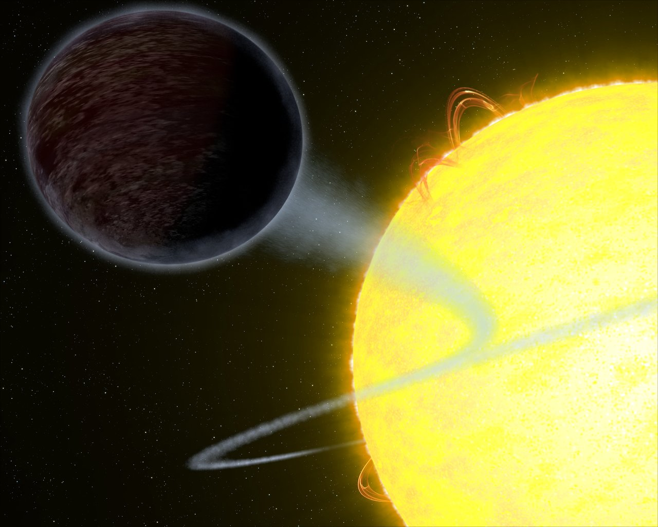 This illustration shows one of the darkest known exoplanets — an alien world as black as fresh asphalt.