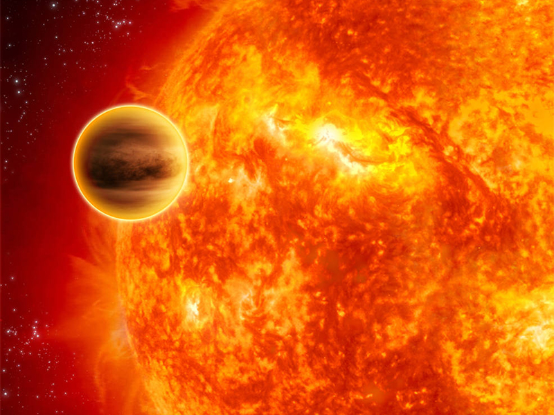 Illustration of a hot Jupiter crossing its star
