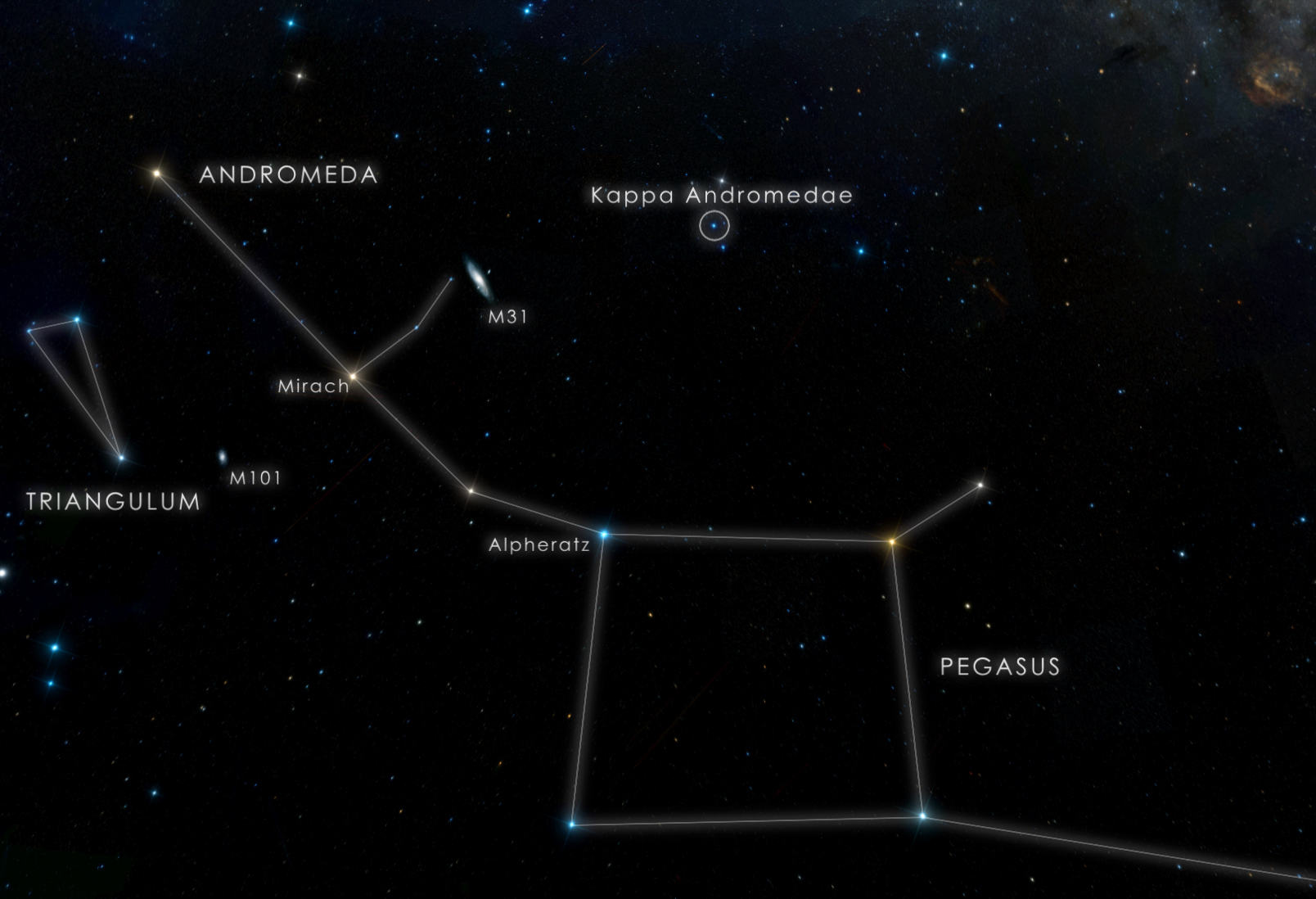 This chart locates the star Kappa Andromedae, which is visible to the unaided eye from suburban skies. Credit: NASA's Goddard Space Flight Center/DSS
