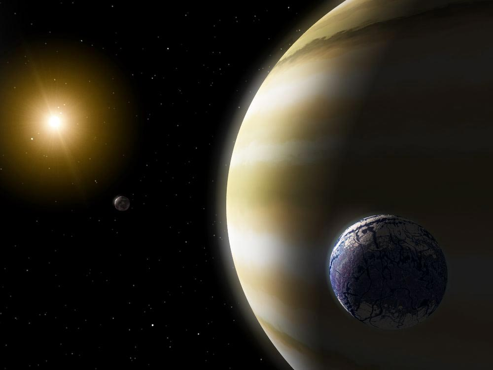 depiction of a gas giant planet with an earthlike exomoon