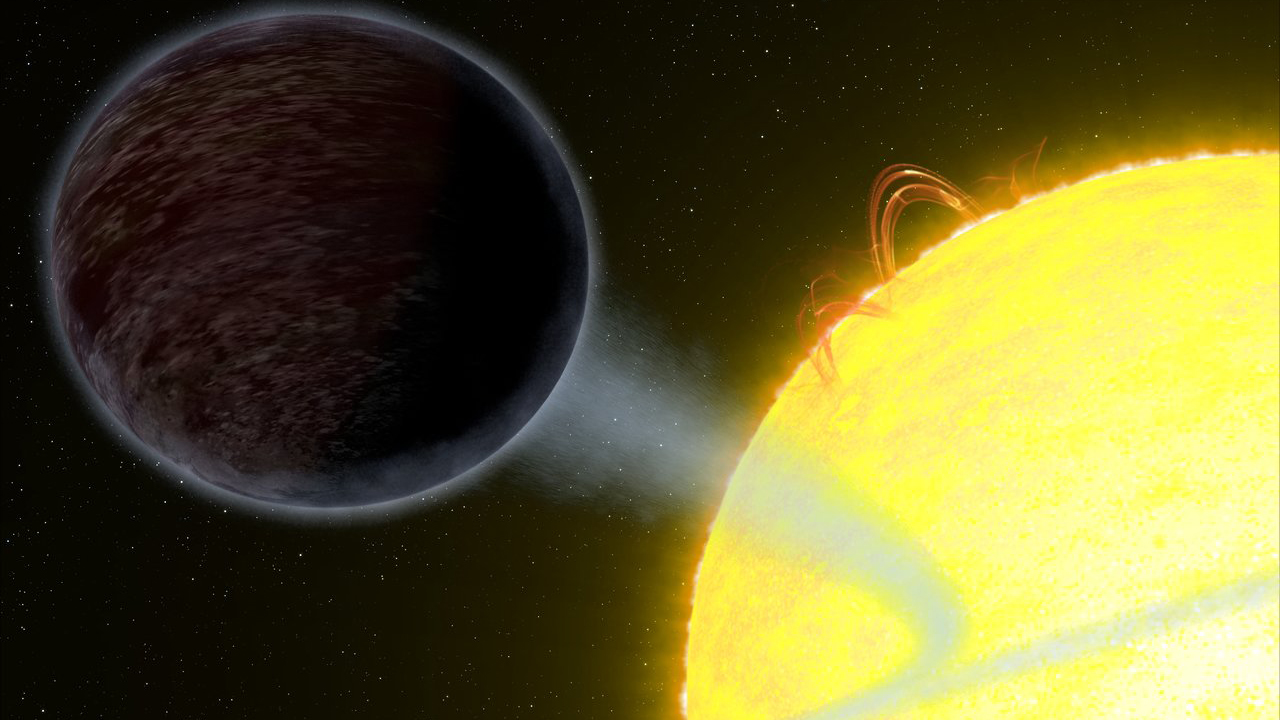 slide 2 - Illustration of a black planet orbiting its star.