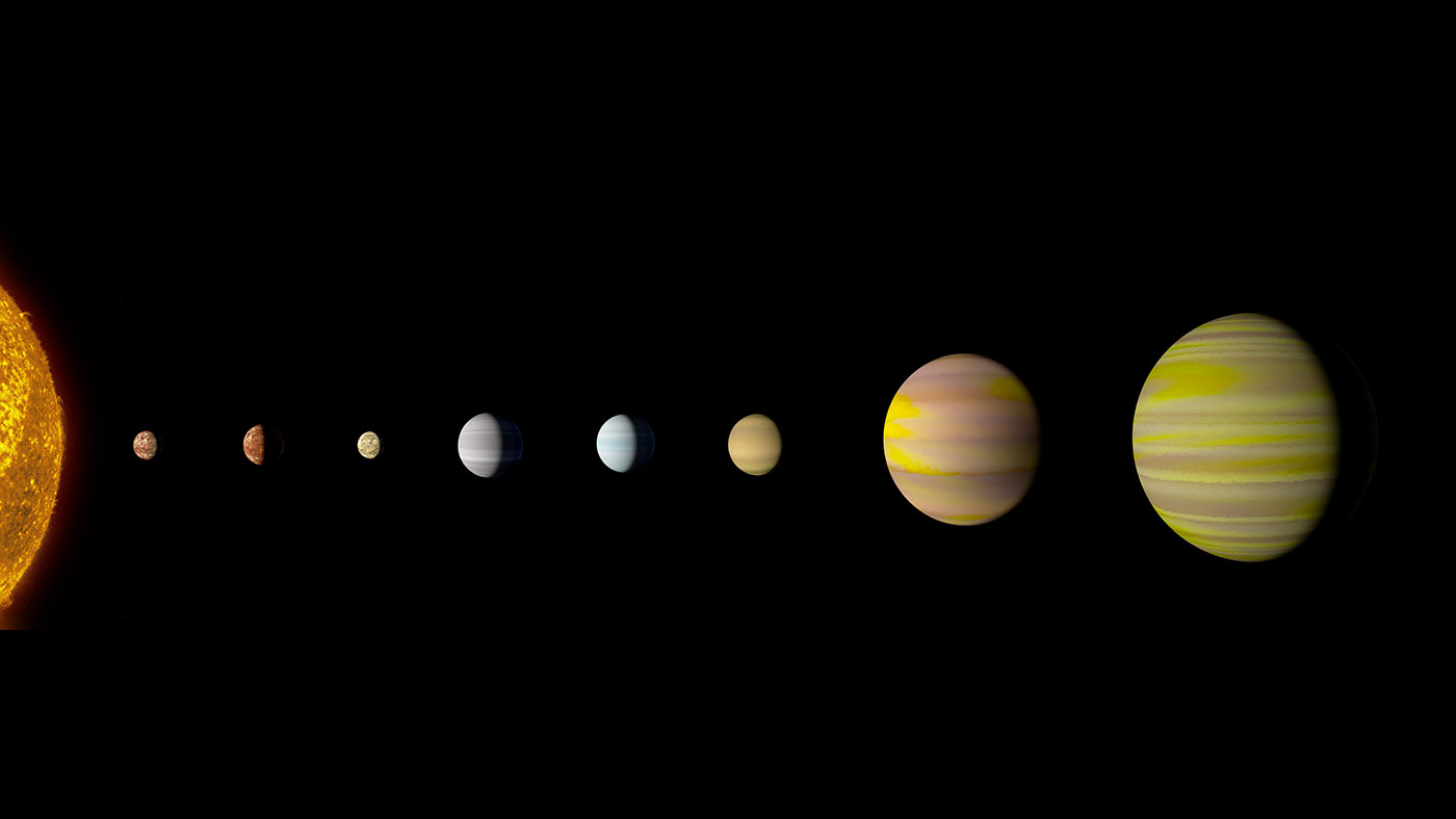slide 1 - Illustration of eight-planet system Kepler-90