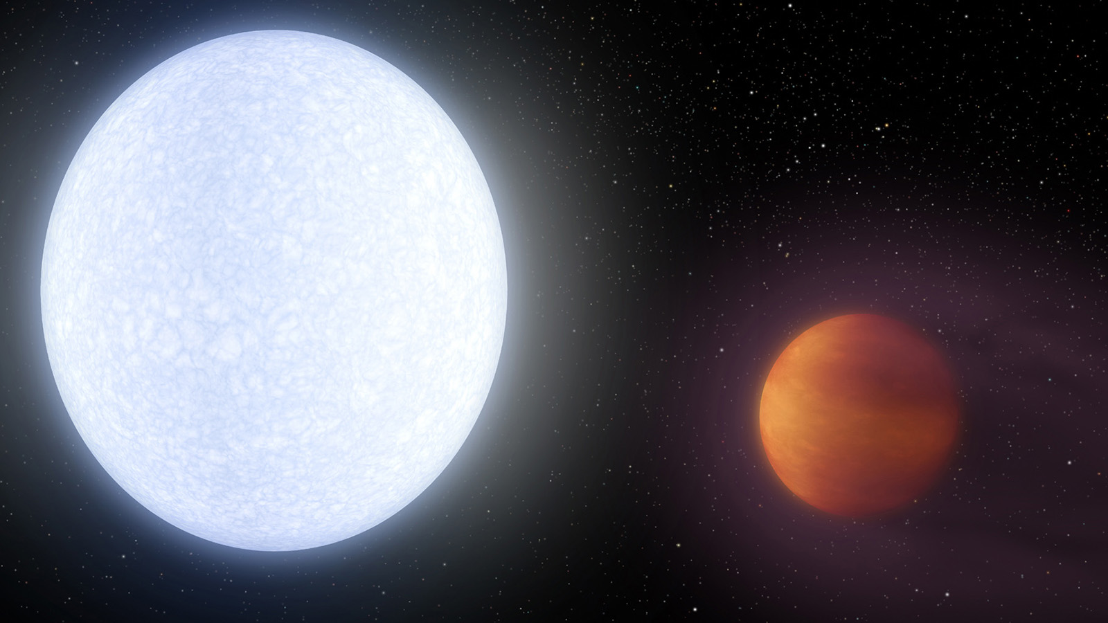 slide 2 - A hot Jupiter exoplanet is seen in an artist's illustration.