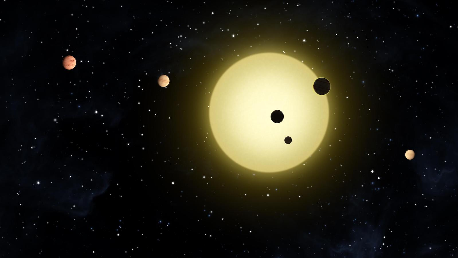 slide 5 - Artist's rendering of a 6-planet system