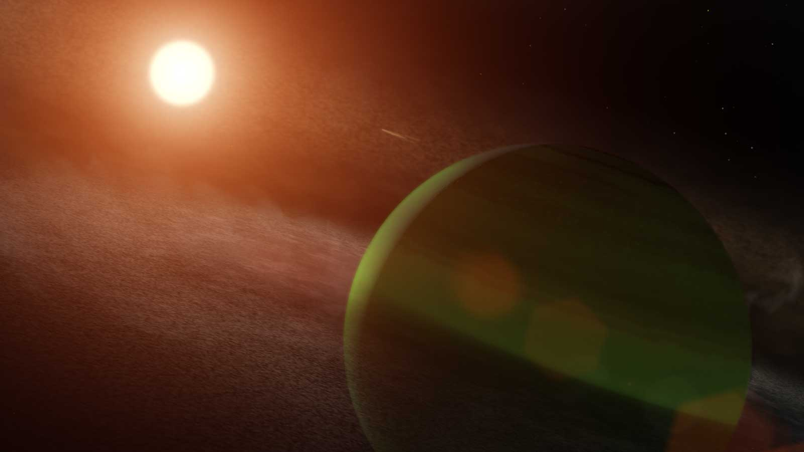 slide 5 - A greenish exoplanet is shown being blasted by its fiery young star