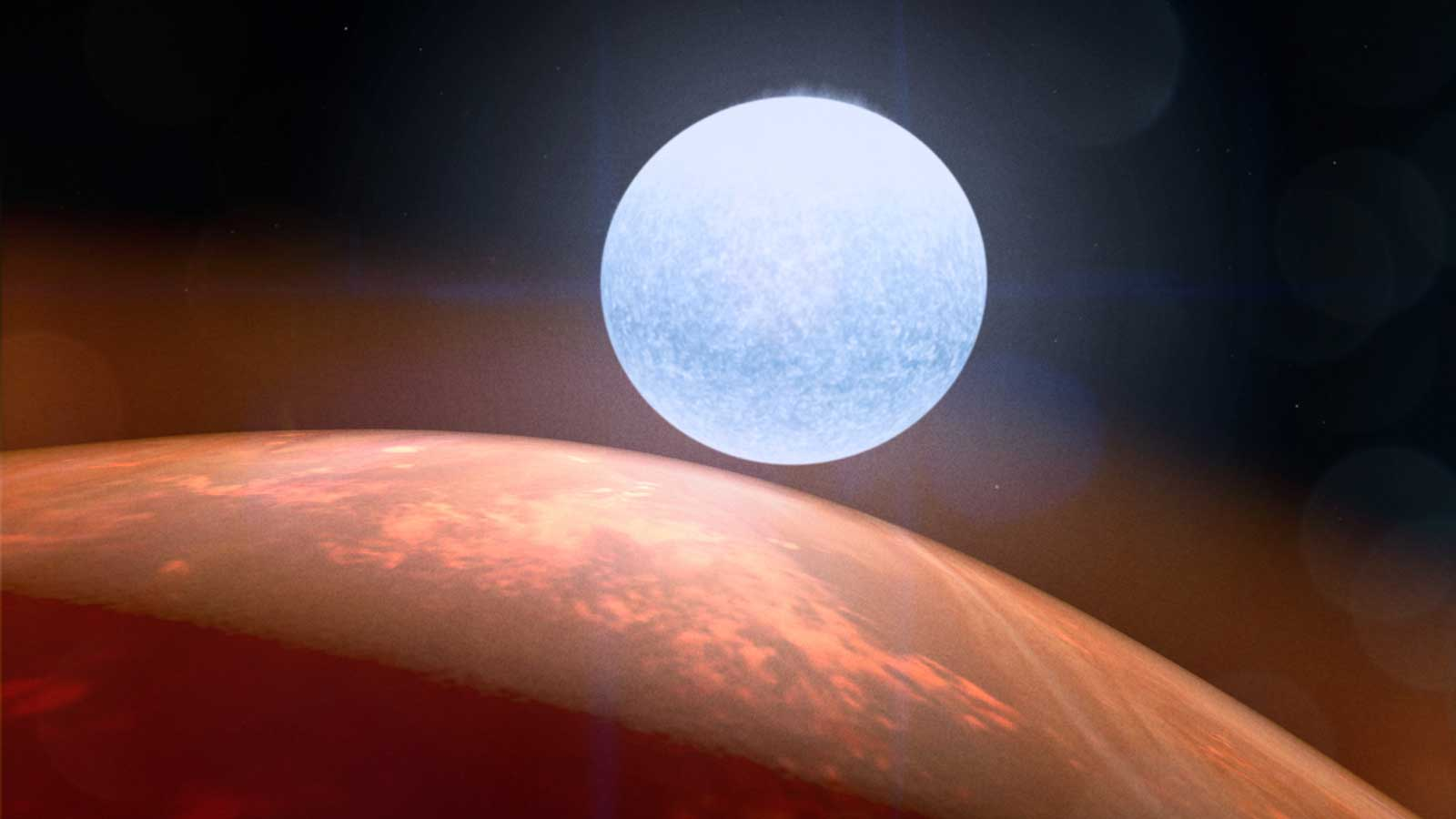 slide 4 - A large red exoplanet is seen with a white hot star