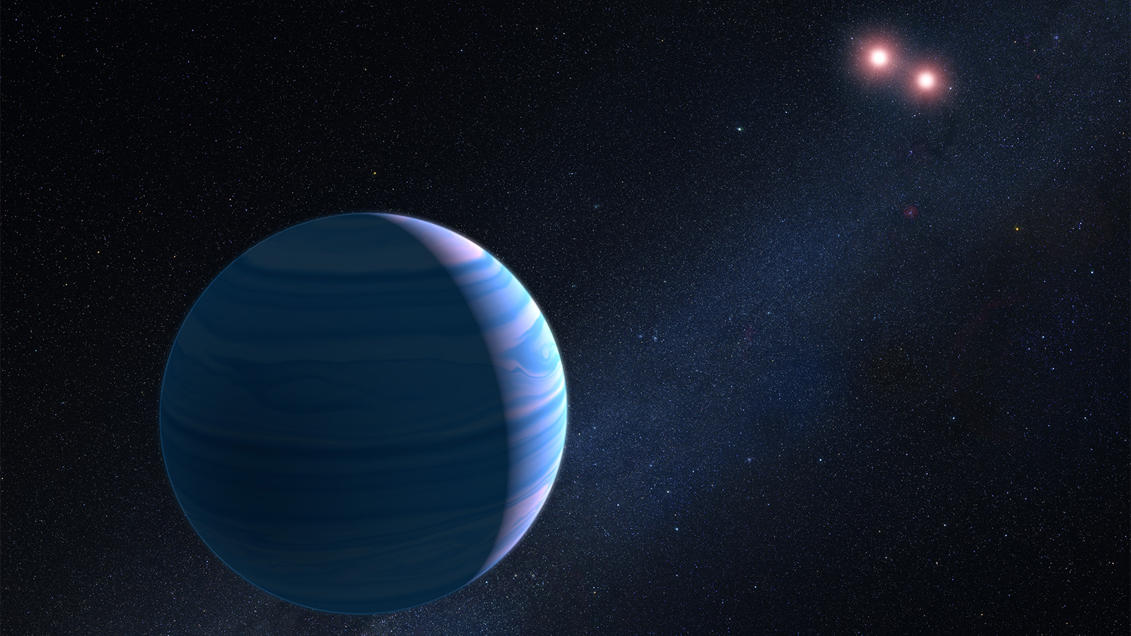slide 5 - An artist's illustration shows a gas giant planet circling a pair of red dwarf stars.