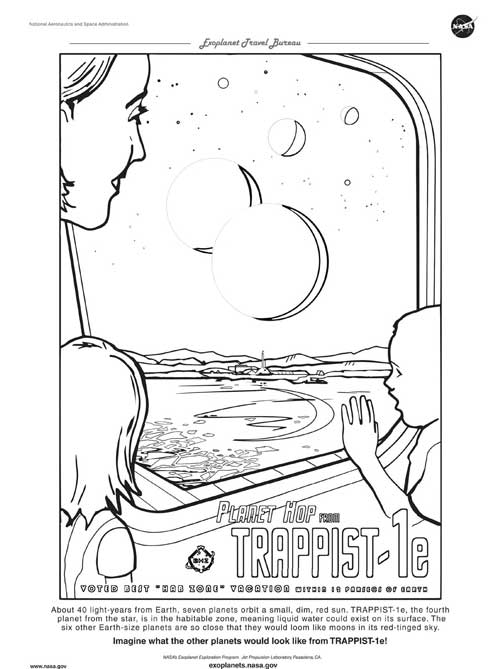 black and white coloring page for the planet showing TRAPPIST-1e and the six other planets like giant moons