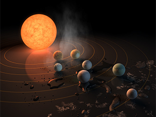 Seven planets rest on a surface around their star TRAPPIST-1.