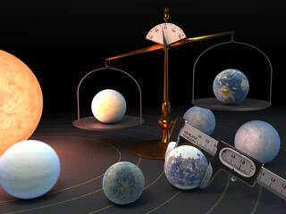 Seven TRAPPIST-1 exoplanets seen on a scale.