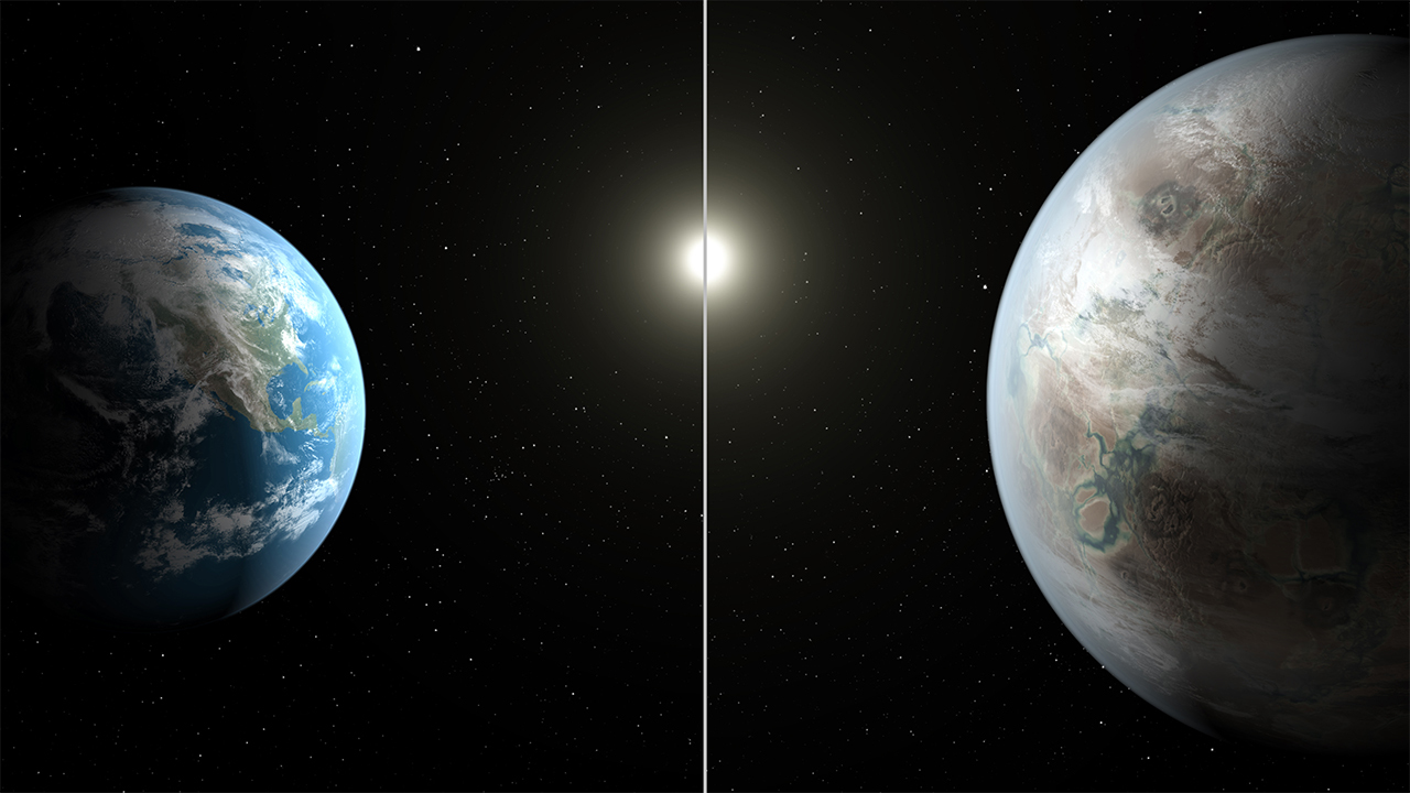 An illustration of the older Earth cousin, Kepler-452b compared to Earth. Starlight-blocking technology will help astronomers find smaller, Earth-size worlds hidden by the brighter light of their stars. Credit: NASA/JPL- Caltech
