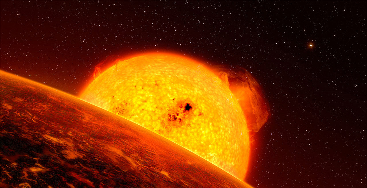 An artist's conception of star scorching its nearby exoplanet. New research shows that aging red giant stars, far from destroying life, could warm frozen worlds into habitable homes. Credit: ESO/L. Calçada