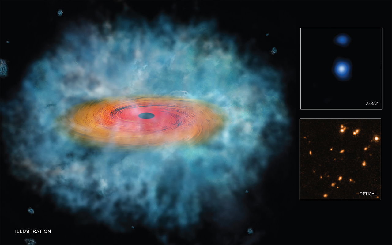 "An illustration depicting a possible ""seed"" for the formation of a supermassive black hole. The inset boxes at right contain Chandra (top) and Hubble (bottom) images of one of two candidate seeds,"