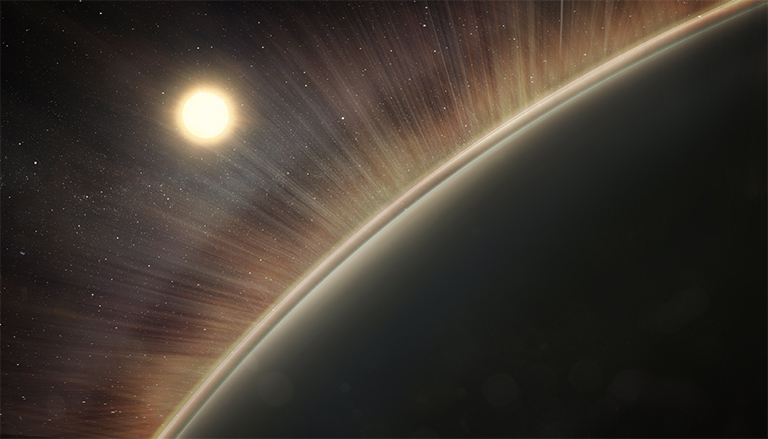 An artist's concept of the electric wind at Venus. Rays represent the paths that oxygen and hydrogen ions take as they are pulled out of the upper atmosphere.