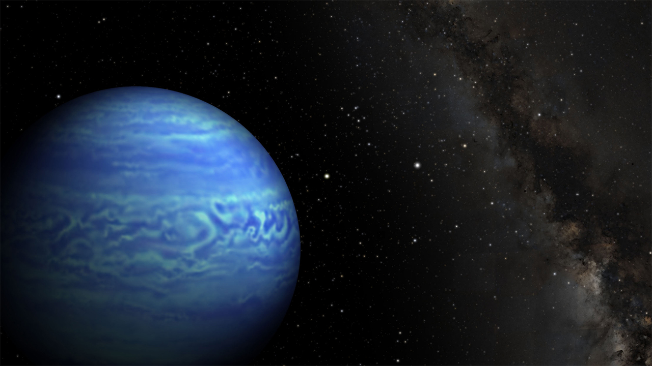 An artist's concept shows the coldest object outside our solar system as blue in color, with the band of the Milky Way in the background.