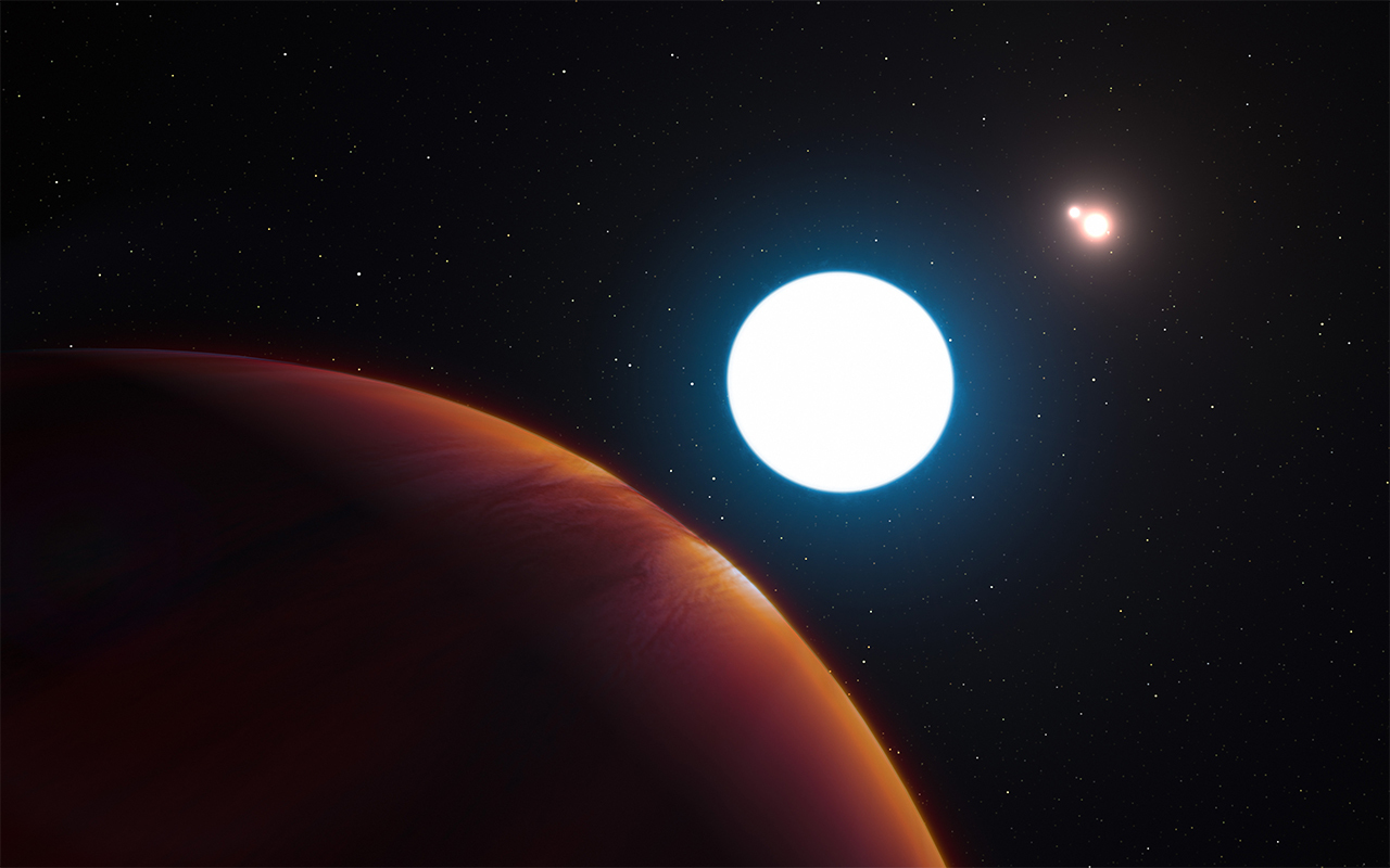 Artist's impression of planet in the HD 131399 system. A ruddy planet with one large sun and two bright stars in the distance.