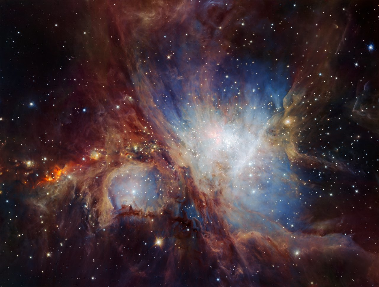 A deep-infrared view of the Orion nebula.