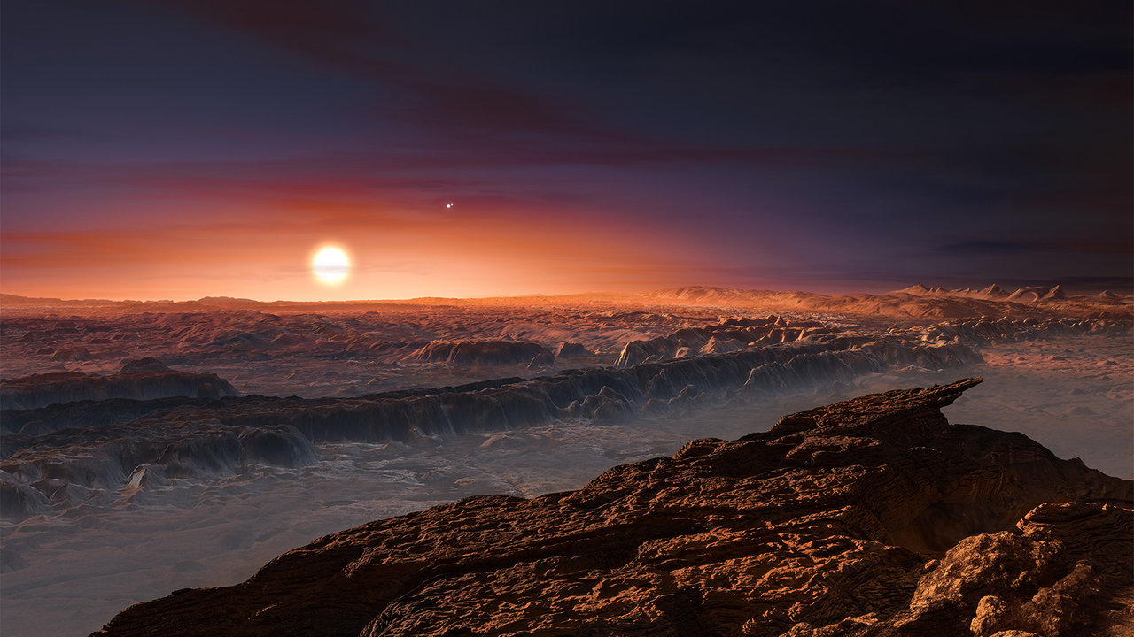 An artist's concept of the surface of Proxima b. In the sky shine its parent star, Proxima Centauri and neighboring binary stars, Alpha Centauri AB.