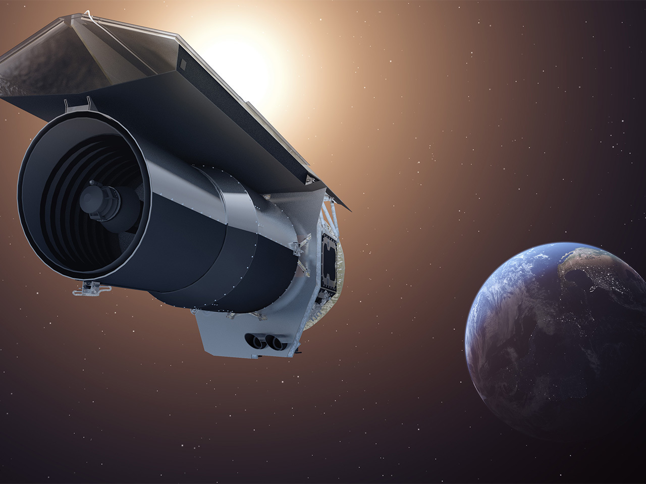 An artist's concept of the Spitzer Space Telescope.