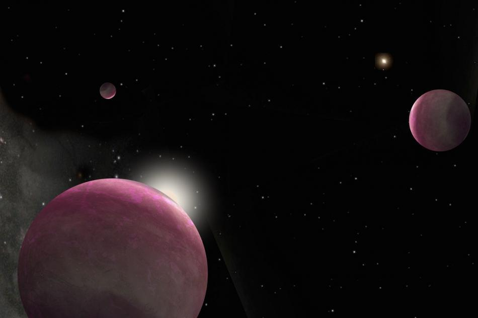 Illustration of three pink gas planets orbiting two stars.