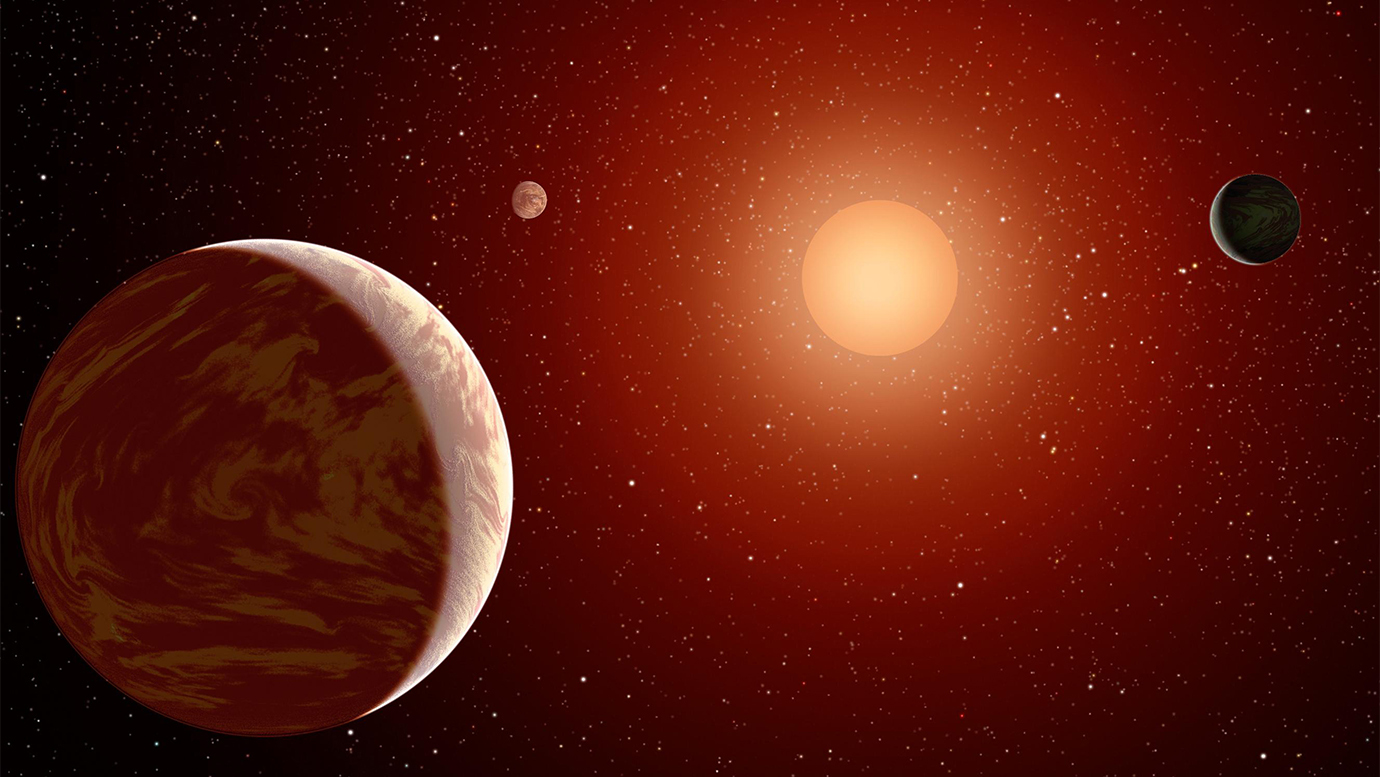 An artist's concept of the three TRAPPIST-1 planets.