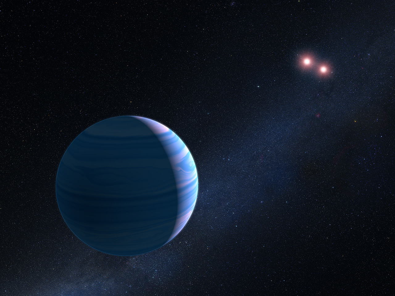 An artist's illustration shows a gas giant planet circling a pair of red dwarf stars.