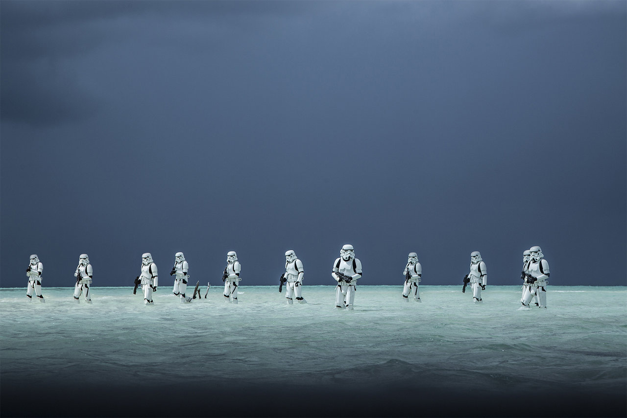 "Stormtroopers in the new Star Wars film ""Rogue One"" wade through the water of an alien ocean world."