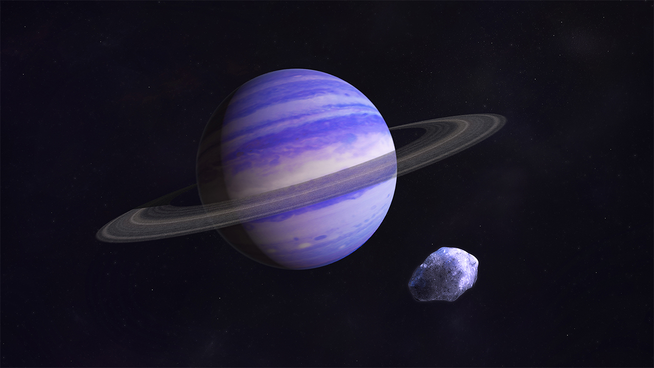 An artist's illustration of a Neptune-size exoplanet.